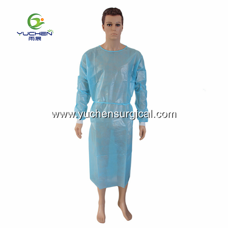 Disposable PP Coated PE film Isolation Gown with Anti-penetration and AAMI Level2